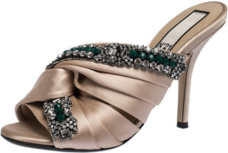 N°21 N21 Beige Satin Embellished Cipria Mule Sandals Size 36