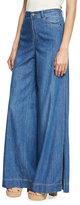 Alice + Olivia Clarissa Wide Leg Side-Slit Jeans, Blue