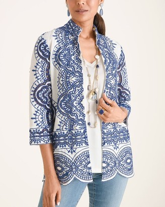 Chico's Embroidered Scalloped-Hem Jacket