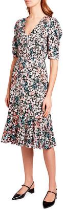 Erdem Floral Print Jersey Button-Front Dress