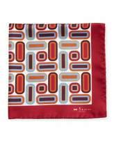 Kiton Rectangle & Square Printed Silk Pocket Square, Red