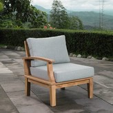Beachcrest Home Teak Patio Chair with Cushions Color: Navy/Brown