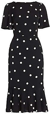 Dolce & Gabbana Women's Charmeuse Flutter-Hem Polka Dot Sheath Dress