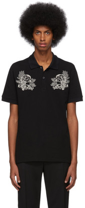 Alexander McQueen Black Embroidered Skulls Polo