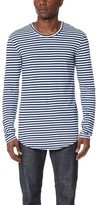 AG Jeans Salinon Striped Raw Hem Long Sleeve Tee