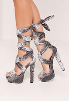 Missguided Velvet Ankle Wrap Platform Heels Grey