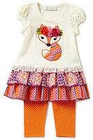 Bonnie Jean Little Girls 2T-6X Fox-Applique Dress & Dotted Leggings Set