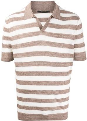 Tagliatore Striped Open-Collar Polo Shirt
