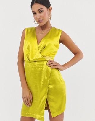 The Girlcode satin wrap mini dress in lime green
