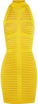 Balmain Cutout Ribbed Stretch-knit Mini Dress - Chartreuse