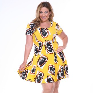 White Mark Plus Size Floral Fit & Flare Dress