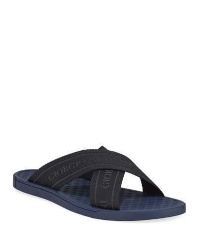 Giorgio Armani Logo Jacquard Crisscross Slide Sandal