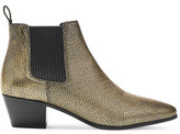Maje Metallic Textured-Leather Ankle Boots