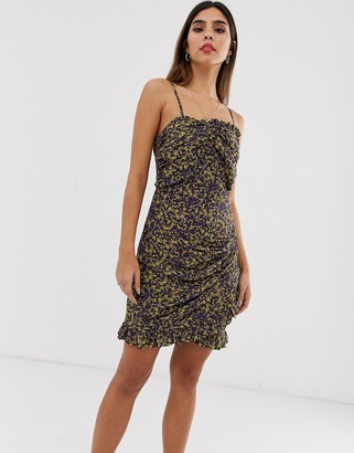 The East Order mags mini dress in ditsy print-Purple