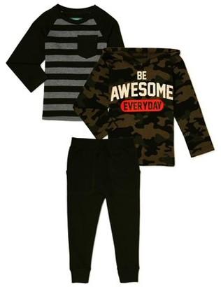 Garanimals Baby and Toddler Boys Long Sleeve T-Shirt, Hoodie Sweatshirt & Jogger Pants, 3-Piece Outfit Set