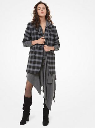 Michael Kors Glen Plaid Stretch-Wool Crushed-Sleeve Blazer