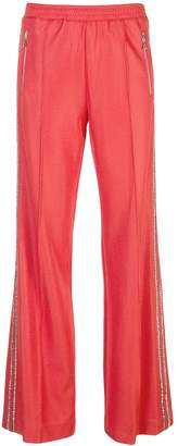 Area embellished stripe track trousers