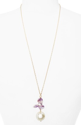 Lele Sadoughi Trillium Imitation Pearl Pendant Necklace
