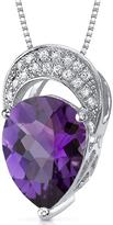 Ice 2 CT TW Amethyst and Cubic Zirconia Rhodium-Plated Silver Pendant Necklace