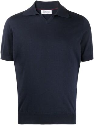 Brunello Cucinelli Rib-Trimmed Cotton Polo Shirt