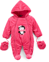 Sweet & Soft Hot Pink Penguin Snowsuit - Infant