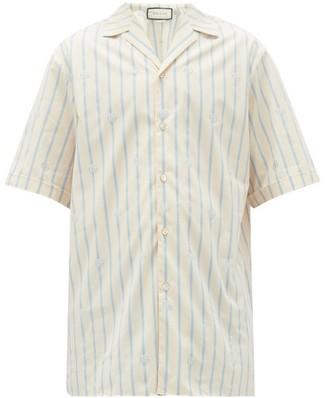 Gucci Striped Gg-jacquard Cotton Shirt - Mens - Blue White
