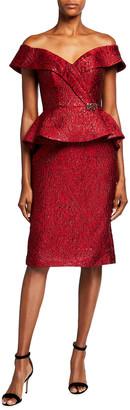 Jovani Off-the-Shoulder Jacquard Peplum Short Dress