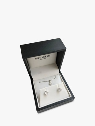 Sif Jakobs Jewellery Cubic Zirconia Stud Earrings and Pendant Necklace, Silver
