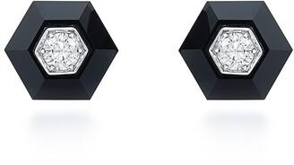 Fred Leighton 18kt white gold Signed hexagonal black jade and diamond stud earrings