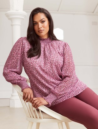 Forever New Shirley Curve High Neck Blouse - Ruby Winter Speckle - 16