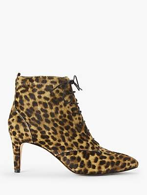 Boden Bardon Lace Up Stiletto Heel Ankle Boots, Leopard