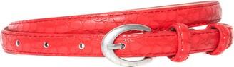 Accessoryo Women's Red Snakeskin Effect Skinny Belt with Silver Oval Buckle