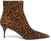 Saint Laurent Lexi Point-toe Leopard-print Suede Ankle Boots - Womens - Leopard
