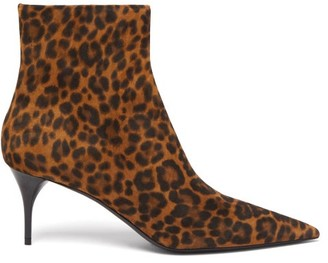 Saint Laurent Lexi Point-toe Leopard-print Suede Ankle Boots - Leopard