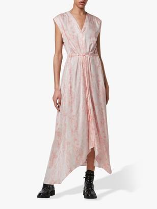 AllSaints Tate Masala Snake Asymmetric Hem Dress, Soft Pink