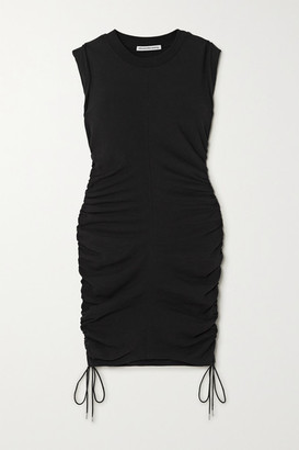 Alexander Wang Wash And Go Ruched Cotton-jersey Mini Dress - Black