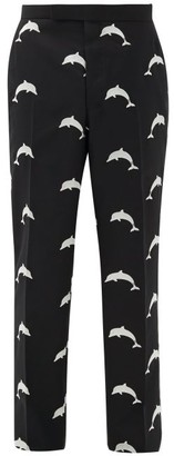 Thom Browne Dolphin-embroidered Wool-blend Trousers - Mens - Black
