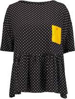 Love Moschino Faux leather-paneled polka-dot voile top