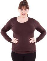 Clothes Effect Ladies Plus Size Round Neck Long Sleeve T-Shirt