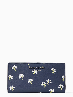 Kate Spade Cameron Daisy Toss Large Slim Bifold Wallet