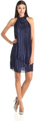 London Times Women's Sleeveless Stand Collar Overlay Shift Dress