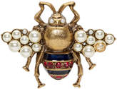 Gucci Gold Crystal and Pearl Bee Brooch