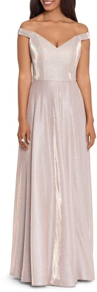 Xscape Evenings Glitter Knit Off the Shoulder Gown