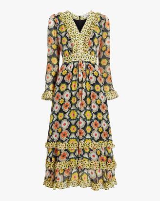 Temperley London V-Neck Tiered Midi Dress