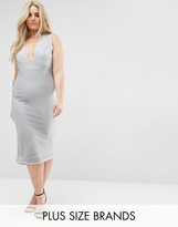 Missguided Plus Ribbed Plunge Midi Dress