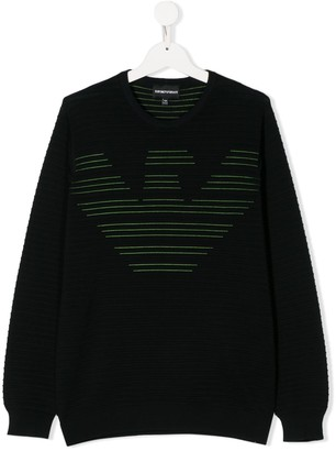 Emporio Armani Kids TEEN ribbed logo-jacquard sweater