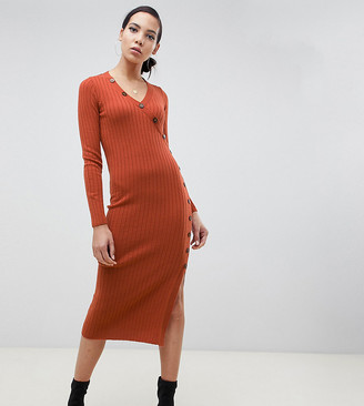 Asos Tall ASOS DESIGN Tall dress in rib knit with button detail