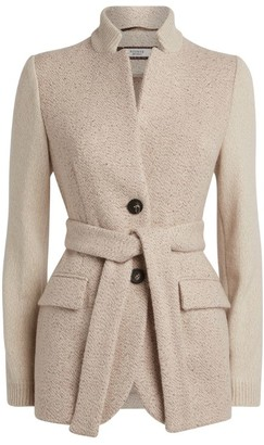 Peserico Knit-Sleeves Belted Jacket