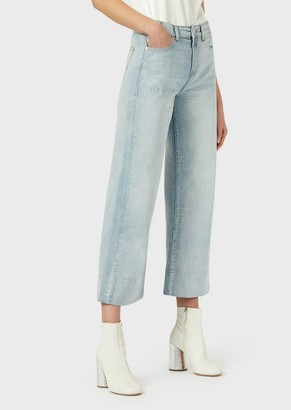 Emporio Armani J33 Cropped, Wide-Legged, Vintage Denim Jeans