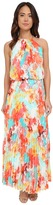 Christin Michaels Milan Floral Pleated Maxi